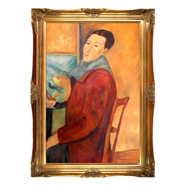 """overstockArt.com - Modigliani - Modigliani, Self-Portrait Oil Painting - 24"""" x 36"""" Oil Painting On Canvas Hand painted oil reproduction of a famous Modigliani painting, Modigliani, Self-Portrait. The original masterpiece was created in 1919. Today it has been carefully recreated detail-by-detail, color-by-color to near perfection. Why settle for a print when you can add sophistication to your rooms with a beautiful fine gallery reproduction oil painting? Amedeo Clemente Modigliani (1884 - 1920) was an Italian painter and sculptor who worked mainly in France. Primarily a figurative artist, he became known for paintings and sculptures in a modern style, characterized by mask-like faces and elongation of form. The bohemian painter's works form a bridge between the generation of Toulouse-Lautrec and the Art Deco painters of the 1920s. The classically simple, flat forms, elongated proportions and delicate stylization combine influences from African sculpture to Botticelli style. Why not grace your home with this reproduced masterpiece? It is sure to bring many admirers!"""