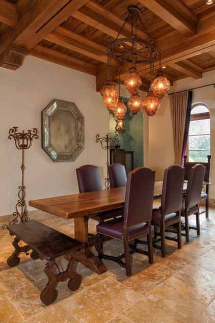 Mediterranean Dining Room by Village Architects AIA, Inc.