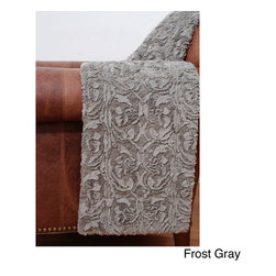 Thro - Deena Scroll Faux Fur Throw - A swirling faux fur texture adds a touch of elegance to this comfortable throw blanket. Available in two fun colors,this captivating scrolled blanket is fully machine washable for easy clean-up.