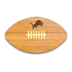 """Picnic Time - Detroit Lions Touchdown Pro Cutting Board in Natural Wood - The Touchdown! cutting board is a 15"""" x 8.75"""" x 0.75"""" board made of eco-friendly bamboo with a standard football design, with 123 square inches of cutting surface. It can be used as a cutting board or serving tray, or use both sides of the board, one for cutting and the other for serving. The backside of the board is solid dark bamboo. Go long...for the Touchdown! Decoration: Engraved"""