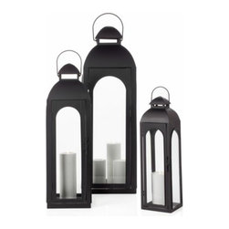 Alba Lantern, Black - Light up your entrance and create a soft glow with these lanterns. It's a classic touch and adds a warm inviting glow for your guests.
