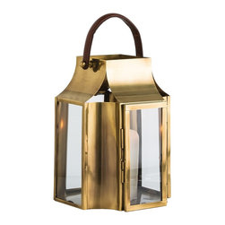 "Arteriors - Hailey Lantern, Small - Large scale antique brass and clear glass pillar holders with saddle brown leather handle. Holds a 6"" pillar or can be filled with serveral smaller diameter candles creating staggered flame patterns."
