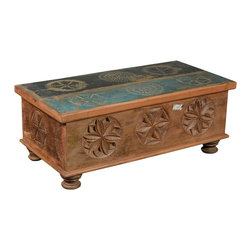 Sierra Living Concepts - Hand Carved Reclaimed Wood Storage Trunk - When furniture becomes art, the entire room is enhanced. The Hand Carved Reclaimed Wood Storage Trunk features 3D carving, flat carving and painted representations of different medallions.