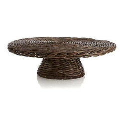 Hearth Pedestal - Woody bagobago vines weave rustic refinement for tabletop, kitchen island or hearth. Handwoven elevated pedestal present foods or decorative objects.