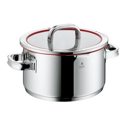 "WMF - WMF Function 4 High Casserole with Lid 6.0-qt. - Transtherm universal base ensures optimum heat distribution and retention, also suitable for induction hobsHigh quality 18""ch/10""ch stainless steel construction with a polished finishClear glass lid has red silicone trim and clear markings of the four distinct functions for precise straining and PouringInside measuring marksStay-cool handles"" providing for a pleasant handlingMade in germany; Dishwasher safe.Versatile lid design has four positions that allow for full pour, wide strainer for pasta and veggies, fine strainer or steam release, or closed"