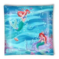 """Little Mermaid Ceiling Light - 12"""" square semi flushmount ceiling lamp with designer finish. Includes complete installation instructions and complete light fixture. Wipes clean with a damp cloth. Uses 2-60 watt bulbs (not included) and is made with eco-friendly/non-toxic products. This is not a licensed product, but is made with fully licensed products."""