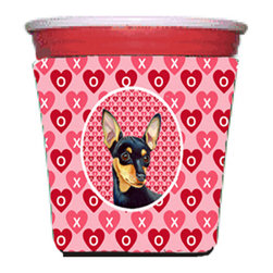 Caroline's Treasures - Min Pin Valentine's Love and Hearts Red Solo Cup Hugger - Fits red solo cup or large Dunkin Donuts / Starbucks ice coffee cup. Collapsible Foam. (16 oz. to 22 oz. Red solo cup) Toby Keith made the cups more popular with his song. We make them nicer to carry around. The top of the cup is still exposed to add your name with a marker too. Permanently dyed and fade resistant design. Great to keep track of your beverage and add a bit of flair to a gathering. Match with one of the insulated coolers or coasters for a nice gift pack. Wash the hugger in your dishwasher or clothes washer. Design will not come off.