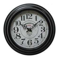 Yosemite Home Decor - 17 In. Circular Iron Wall Clock Circular with Black Iron Frame - This antique style wall clock is very European and charming. The circular frame is a distressed white. The dial has a similar distressed appearance with what appears to be some faux rust coming through. The numbers are black with red dots at each number and black dots in between representing each minute. The words Station Kensington is stamped just under the twelve and London 1879 just above the six.