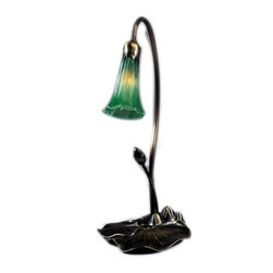 Meyda Tiffany - Meyda Tiffany Lamps Table Lamp in Mahogany Bronze - Shown in picture: Green Pond Lily Accent Lamp; One Of The Most Popular Louis Comfort Tiffany Styled Lamps On The Market Today - Recreating His Famous Favrile Design From The Early 1900's. This Softly Mottled Emerald Green Shaded One Light Accent Lamp Offers An Attractive - Delicate Design Featuring Shades Mouth Blown Of Fine Art Glass. Lily Shades Are Suspended From Stems Delicately Winding Above A Lily Pad Base Finished By Hand In Mahogany Bronze.