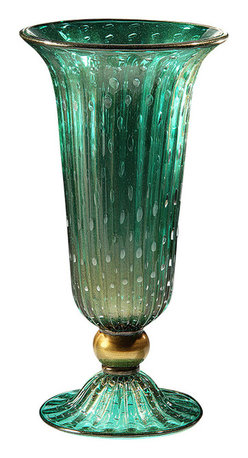 "Inviting Home - Venetian Glass Vase (green and gold) - Hand-blown green and gold round flooted Venetian glass vase with bubbled pattern 10-3/4"" x 19-1/4""H Made in Murano Italy Hand-blown green and gold round fluted Venetian glass vase with bubbled pattern. Made in Murano Italy."