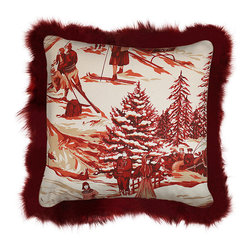 INUKT.COM - Camin Lake pillow - Love the nostalgia winter scene played out in a monochramatic theme of reds and wines trimmed with red fox fur and made cozier with velvet wine backing.