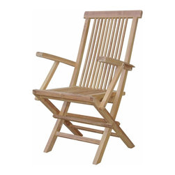 Anderson Outdoor Furniture - Bristol 2 Folding Armchairs - What better way to enjoy the view from your pool or patio than from the comfort of an all-weather armchair? For added convenience, this solid teak chair folds up for easy storage whenever you need more room.