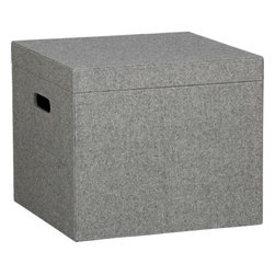 felt file box - tailored to fit. Letter size files dress for success in a grey heathered menswear wool felt blend with light grey double topstitching at the corner seams. Sturdy with fitted lid; open handles on two sides.- Viscose-wool covering- MDF frame- Made in China- See dimensions below
