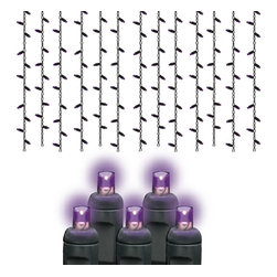 Seasonal Source - 105 5MM Purple Frost LED Halloween Icicle Lights, Black Wire - Halloween is the second largest holiday for decorating, and also the most imaginative. Hang our Purple Frost Icicle lights from the roof line of your house to create an eerie effect.