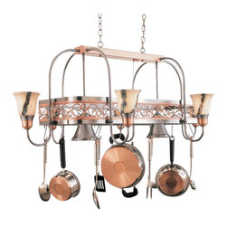 Hi-Lite MFG - Odysee 8-Lite Pot Rack in Satin Steel Finish - Includes six pot rack hooks. Accessories and bulbs not included. Copper frame. White odysee glass. UL listed. Eight 100W MED INC for lamps. Made from steel. 53 in. L x 33 in. W x 21 in. HHi-Lite achieved success through attention to detail and stubbornness to only manufacturer the highest quality product. Hi-Lite has built its reputation as a premier lighting manufacturer by using only the finest raw materials, inspirational designs, and unparalleled service. This allows us great flexibility with our designs as well as offering you the unique ability to have your custom designs brought to Light.