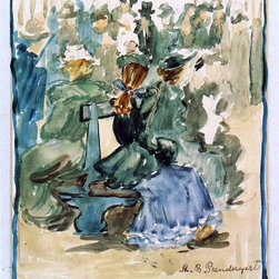 "Maurice Prendergast Ladies Seated on a Bench (also known as Ladies in the Park) - 16"" x 20"" Maurice Prendergast Ladies Seated on a Bench (also known as Ladies in the Park) premium archival print reproduced to meet museum quality standards. Our museum quality archival prints are produced using high-precision print technology for a more accurate reproduction printed on high quality, heavyweight matte presentation paper with fade-resistant, archival inks. Our progressive business model allows us to offer works of art to you at the best wholesale pricing, significantly less than art gallery prices, affordable to all. This line of artwork is produced with extra white border space (if you choose to have it framed, for your framer to work with to frame properly or utilize a larger mat and/or frame).  We present a comprehensive collection of exceptional art reproductions byMaurice Prendergast."