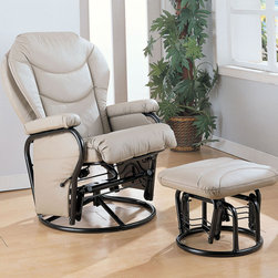Coaster - 7040 Glider With Ottoman - Bone - Bone leatherette cushion reclining glider rocker with round base ottoman.