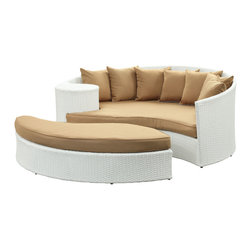 Modway Furniture - Modway Taiji Daybed in White Mocha - Daybed in White Mocha belongs to Taiji Collection by Modway Harmonize inverse elements with this radically pleasing daybed set. Seven plush throw pillows adorn Taiji's thick all weather orange cushions allowing for the splendorous blending of mediating elements. Find the key to attainment as you bask in a charged and unified landscape of expansiveness. Set Includes: One - Taiji Outdoor Wicker Patio Daybed One - Taiji Outdoor Wicker Patio Ottoman Seven - Taiji Outdoor Wicker Patio Throw Pillows Daybed (1), Ottoman (1)