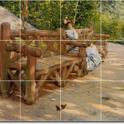 Picture-Tiles, LLC - An Idle Hour In The Park Central Park Tile Mural By William Chase - * MURAL SIZE: 24x32 inch tile mural using (12) 8x8 ceramic tiles-satin finish.