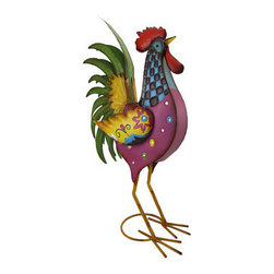 Whimsical Multicolored Metal Rooster Sculpture 24 In. - This metal rooster sculpture adds a whimsical accent to your home or garden. It measures 24 inches tall, 13 inches long, 5 1/2 inches wide and is hand painted in bright, cheerful enamels. This rooster is right at home in the corner of your kitchen, on your porch or patio, or even standing under a tree in your yard. It is suitable for indoor or outdoor use, and makes a great gift.