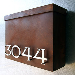Address Plaques - Custom Victorian Floating House Number Mailbox No. 1310 in Rusted Steel