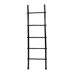"Master Garden Products - 5' Bamboo Ladder Rack, Black Stain Finish - Our bamboo ladder rack is uniquely designed to be used as a towel rack. It is made of natural solid bamboo and sand finished for indoor use. Beautiful black stain finish. These ladders are hand-made using all-natural bamboo and are not machine processed, irregularities are to be expected. Optional shelf is available for extra bathroom storage space. Top of ladder: 16"" wide, bottom of ladder: 19"" wide"