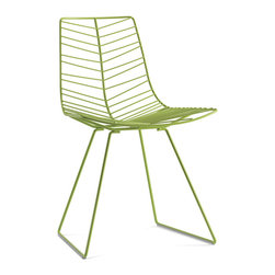 arper - arper Leaf Dining Chair - The Leaf dining chair with sled base is made in painted or chromed steel rod. The chair is available in chrome or painted in the following colors: white, green and mocha. Glides for wood floors are available upon request. The painted version of the chair is weather resistant. Seat cushion can be ordered for an additional charge. Seat cushion is available in polyurethane or leather. Price includes delivery to the USA. Please contact us to determine shipping cost to your destination. Manufactured by arper. Designed in 2005.