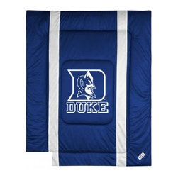 Sports Coverage - Duke Blue Devils Bedding - NCAA Sidelines Comforter - Full - Show your team spirit with this great looking officially licensed Duke Blue Devils comforter which comes in new design with sidelines. This comforter is made from 100% Polyester Jersey Mesh - just like what the players wear. The fill is 100% Polyester batting for warmth and comfort. Featuring authentic Duke Blue Devils team colors, each comforter has the authentic Duke Blue Devils logo screen printed in the center. Soft but durable. Machine washable in cold water. Tumble dry in low heat. Covers are 100% Polyester Jersey top side and Poly/Cotton bottom side. Each comforter has the team logo centered on solid background in team colors. 5.5 oz. Bonded polyester batts. Looks and feels like a real jersey!