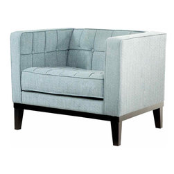 """Armen Living - Roxbury Chair in Spa Blue Fabric - Adopting suave lines and a sophisticated but playful mood, create a classically """"mod"""" aesthetic for your loft, town home or condo.; Arm chair from the Roxbury collection; Tufted, cream colored satin fabric; Sleek contemporary style; Color: Spa Blue; Comes with standard 1 year limited warranty; Dimensions: 32""""W x 31""""D x 28.5""""H"""