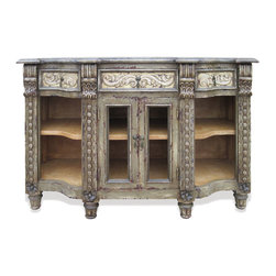 Koenig Collection - Old World Mediterranean Sienna Buffet, Distressed Grey with Glass Doors - Old World Mediterranean Sienna Buffet