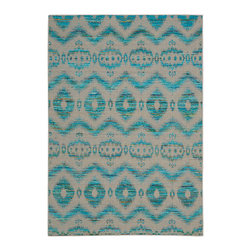 """Nourison - Nourison Spectrum SPE01 5'3"""" x 7'5"""" Turquoise Grey Area Rug 21629 - An Ikat design is undeniably eye-catching and effortlessly chic and no more so than when it is presented in gleaming shades of steel, teal and turquoise. Hand woven from a sumptuous silk blend for a singular tone and texture with an understated iridescence, this exceptional rug epitomizes old world attraction in a marvelously modern way."""