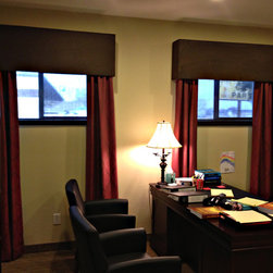 Shades/Blinds - Cornice boards with draperies and roller shades furnished and installed by Kite's Interiors