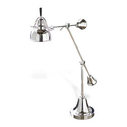 Kathy Kuo Home - Caden Vintage Silver Metal Adjustable Table Lamp - If you really love lamp this is the lamp to love. Gleaming polished nickel makes it stand out like the Tin Man after receiving his heart. Adjustable and providing focused light, it has a strong presence and a definitive point of view.