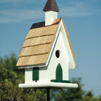 Heartwood - Country Wildwood Church Birdhouse White - The  pristine  A-line  design  on  this  country  wildwood  church  is  sure  to  bless  your  home  and  garden.  With  a  cypress  shingled  roof  topped  by  copper  ridge  piece  and  solid  copper  steeple,  it  gains  praise  by  it's  beautiful  architecture.  You'll  thank  Heaven  for  the  removable  bottom  that  makes  for  blessedly  easy  cleaning.          Product  Details:                  8x8x17-1/2              1-1/2  hole              Handcrafted  in  USA  from  renewable,  FSC  certified  wood