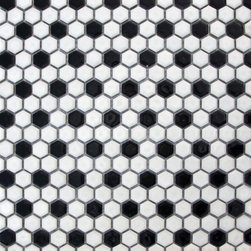 Supah Fish Tiles - Glazed Hexagons Bright Black & White Mini Hexagon Mosaic - Step into a room that reminds you of classic french cafes, when you put down these mini hexagon mosaics.