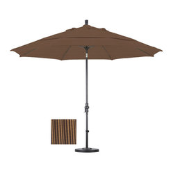 None - Premium 11-foot Sequoia Fiberglass Woven Umbrella with 50-pound Stand - This durable umbrella features an impressive 11-foot diameter and includes a 50-pound capacity stand. Available in versatile sequoia, this umbrella is completed with an advanced collar tilt system.