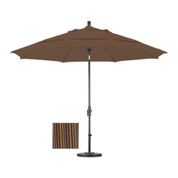 None - Premium 11-foot Sequoia Fiberglass Woven Umbrella with 50-pound Stand - This durable umbrella features an impressive 11-foot diameter and includes a 50-pound capacity stand. Available in versatile sequoia,this umbrella is completed with an advanced collar tilt system.