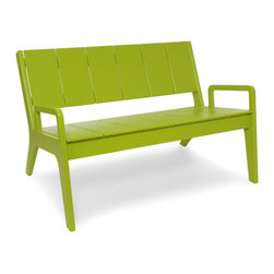 Loll Designs - No. 9 Sofa, Leaf Green - Designed by T.J. Thomas and Audra Bielskus of Studio Murmur for Loll. The No.9 Collection is made from 100% post-consumer waste and manufactured by Loll in Duluth, Minn. The No. 9 stays out all night and is up early to greet you for morning coffee or afternoon lollygagging. This slightly taller lounge chair and love seat are reclined nicely and the well placed arms help when getting out. Ships flat and assembly is a piece of cake.