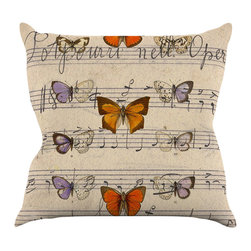"Kess InHouse - Suzanne Carter ""Butterfly Opera"" Music Tan Throw Pillow (16"" x 16"") - Rest among the art you love. Transform your hang out room into a hip gallery, that's also comfortable. With this pillow you can create an environment that reflects your unique style. It's amazing what a throw pillow can do to complete a room. (Kess InHouse is not responsible for pillow fighting that may occur as the result of creative stimulation)."