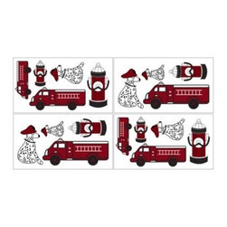 Sweet Jojo Designs - Sweet Jojo Designs Frankie's Fire Truck Wall Decals - These Sweet Jojo Designs Frankie's Fire Truck Wall Decals will add a fun and colorful touch to any bedroom. The set includes 4 sheets of removable and repositionable decals and features fire trucks, Dalmatians, and fire hydrants your child will love.