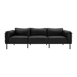 East End Imports - LC3 Leather Sofa in Black - Urban life has always been a quandary for designers. While the torrent of external stimuli surrounds, the designer is vested with the task of introducing calm to the scene. From out of the surging wave of progress, the most talented can fashion a forcefield of tranquility. Perhaps the most telling aspect of the LC3 series is how it painted the future world of progress. The coming technological era, like the externalized tubular steel frame, was intended to support and assist human endeavor.