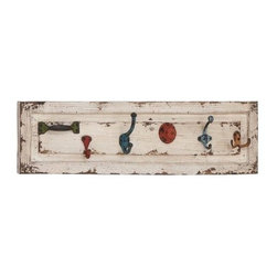 Off White Distressed Wooden Wall Panel with Multicolored Hooks - With the scrappy charm of an old junk shop, the Off White Distressed wooden Wall Panel with Multicolored Hooks is perfect for eclectic decors - and eclectic personalities. The high-quality wood panel features a heavily distressed off-white finish that provides a wonderful contrast to the five brightly colored distressed metal hooks. You'll love how no two hooks (or the door handle) are alike - different has never been so delightful.