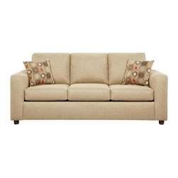 Chelsea Home - 82 in. Talbot Queen Sleeper Sofa - Includes toss pillows and 4 in. inner spring mattress. Transitional style. Vivid beige cover. Seating comfort: Medium. Kiln-dried hardwood frame. Stress points are reinforced with blocks to secure long lasting frame. Attached back cushions. Sinuous springing system manufactured with reinforced 16-gauge border wire. Double springs are used on the ends nearest the arms to give balance in the seating. Hi-density foam cores with dacron polyester wrap cushions. Made from 53% polyester and 47% polypropylene. Made in USA. No assembly required. 82 in. L x 38 in. W x 38 in. H (220 lbs.)