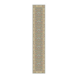 Safavieh - 6 ft. Traditional Runner Rug - Machine-made. Floral, vines and latticework design. Made from polypropylene. Ivory and light blue color. Pile height: 0. 25 in. 6 ft. L x 2 ft. 3 in. W. Safavieh's Lyndhurst collection offers the beauty and painstaking detail of traditional Persian and European styles with the ease of polypropylene. Care Instructions: Vacuum regularly. Brushless attachment is recommended. Avoid direct and continuous exposure to sunlight. Do not pull loose ends; clip them with scissors to remove. Remove spills immediately; blot with clean cloth by pressing firmly around the spill to absorb as much as possible. For hard-to-remove stains professional rug cleaning is recommended.
