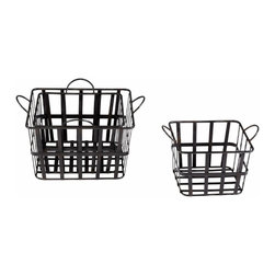 Vintage Style Square Steel Grocery Baskets With Handles,  Set of 4 - *Grocery Baskets