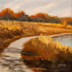 """Fall Hillside"" (Original) By Janet Fons - The Path Winds Around A Lake In Indian Camp Park. Fall Colors Are In Full Swing. The Golden Grasses On The Hillside Are Beautiful, And Muted. The Day Is Warm And Sunny And Perfect For Painting. Pathways And Shadows Are My Theme For This Series Of Small Paintings."