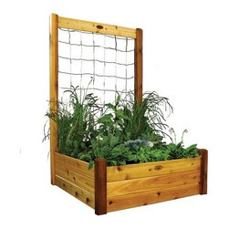 Gronomics 48L x 48W x 19H Garden Bed with Trellis Kit - Create a lush, thriving garden with the versatile Gronomics 48L x 48W x 19H Garden Bed with Trellis Kit. This raised bed and trellis combo lets you grow in all directions, giving you versatile garden options. Made of cedar, the bed and trellis frame are naturally insect, mold, and weather resistant. Easy to assemble, this kit is perfect for any spot in your yard and makes cultivating a thriving garden a breeze. The raised bed makes tending soil easy as it minimizes weed growth and doesn't need tilling or soil amending. Use the trellis to grow climbing plants or veggies. It's easy to assemble and is ideal for most any type of plants or flowers.About GronomicsWith Gronomics, you no longer need a big yard to do your gardening. The Minnesota-based company manufactures unique, ergonomically designed 100% Western Red Cedar garden planters that offer tool-free assembly. Gronomics makes everything from elevated beds, raised beds, planter benches and much more, all of which are designed to make gardening easy and more accessible for all ages. Herbs, vegetables and flowers can all be tended to while standing or sitting and the company's unique designs even allows easy access for those in wheelchairs.