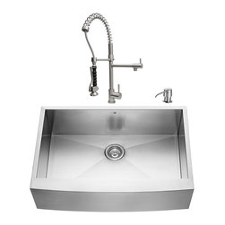VIGO Industries - VIGO Farmhouse Stainless Steel Kitchen Sink, Faucet, Strainer, and Dispenser - Give your kitchen a makeover starting with a VIGO Farmhouse Stainless Steel Kitchen Set.