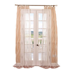 """Exclusive Fabrics & Furnishings, LLC - Florina White Patterned Sheer Curtain - 100% Polyester. 3"""" Pole Pocket. Imported. Dry Clean Only."""