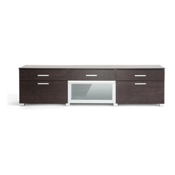 Baxton Studio - Baxton Studio Basilio Dark Brown Modern TV Stand - With an outward appearance of ...